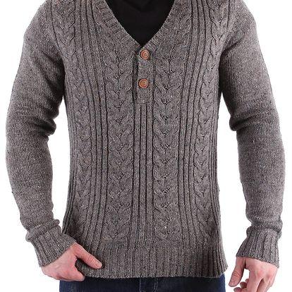 Hřejivý pánský pletený svetr 98-86
