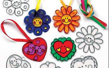 Přívěšky srdce a květiny – Suncatcher