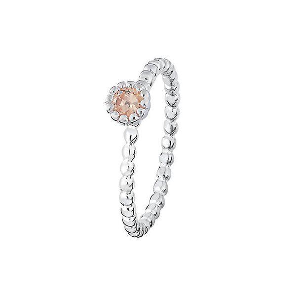 Dámský prstýnek s pudrovým třpytivým kamínkem Spinning