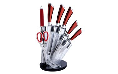 Sada nožů v akrylátovém stojánku 8 ks červená RENBERG RB-2505cerv