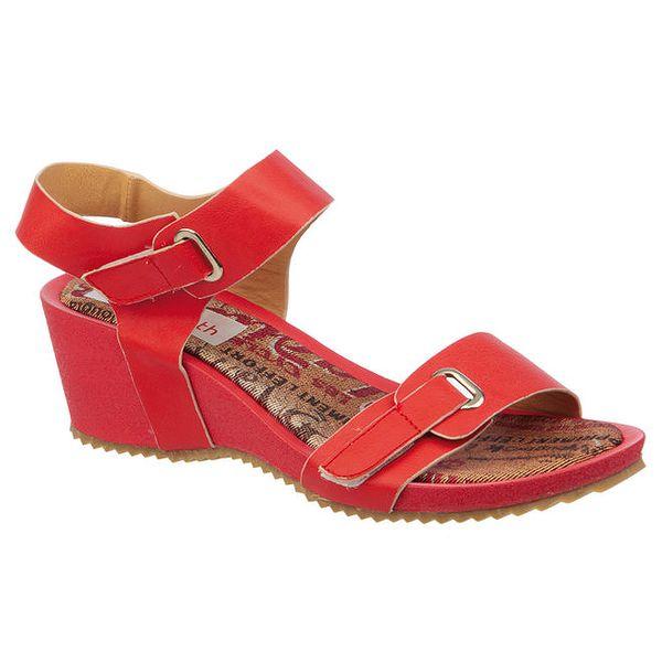 Dámské červené sandálky na klínku Elisabeth