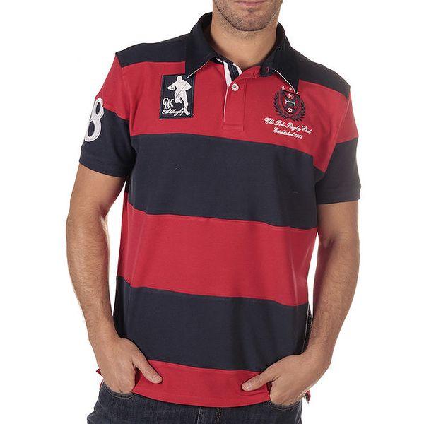 Pánské tričko s červenými pruhy a motivem ragby CLK
