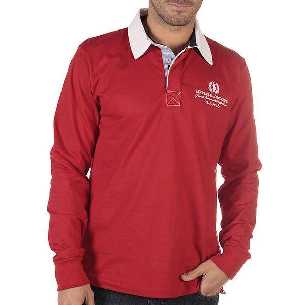 Pánské červené polo tričko s dlouhým rukávem CLK