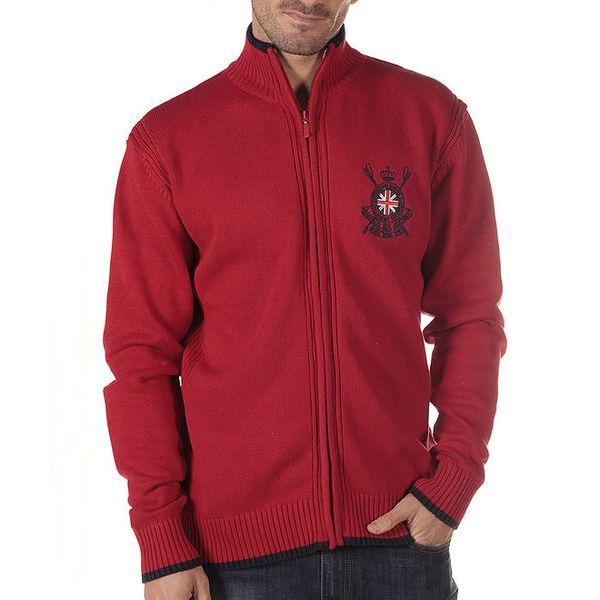 Pánský červený svetr se stojáčkem a výšivkou CLK