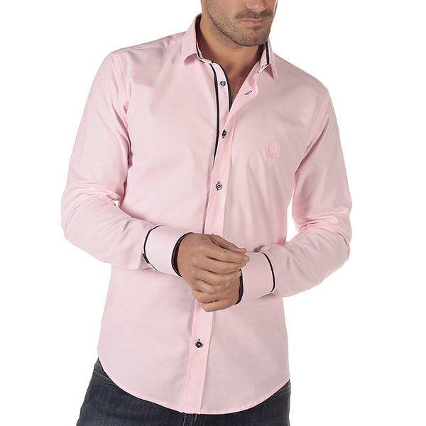 Pánská růžová košile s tmavými detaily CLK