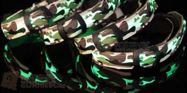 Svítí LED obojek s maskáčovým vzorem a poštovné ZDARMA! - 14107701
