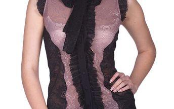 Dámská růžovo-černá blůzka s mašlí Arefeva