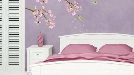 Samolepka Ambiance Tree Branch Pink Flowers, 100 cm