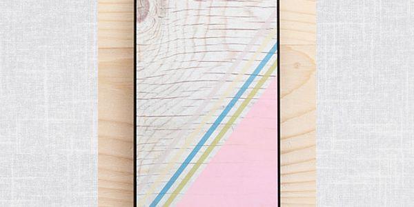Obal na iPhone 5, Diagonal Stripes Pastel Pink wood/black