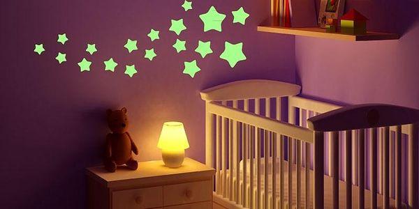 Ve tmě svítící samolepka Stars, 10x55 cm