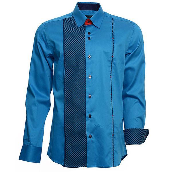 Pánská tyrkysová košile s kostičkovými detaily Brazzi