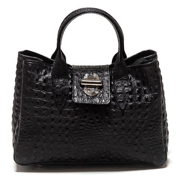 Dámská černá kabelka s reliéfním povrchem Isabella Rhea