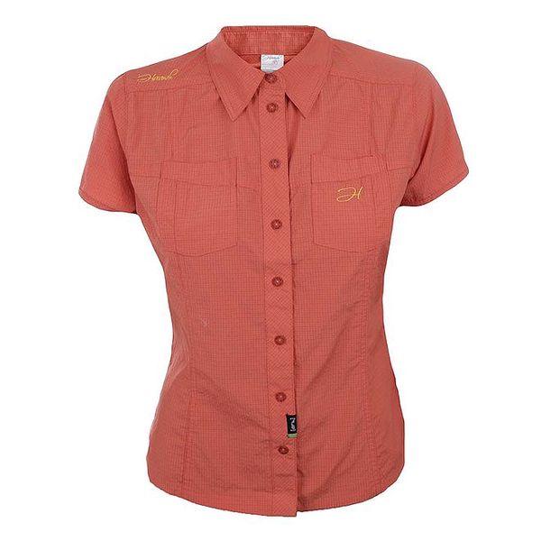 Dámská oranžově kostkovaná košile s krátkým rukávem Hannah