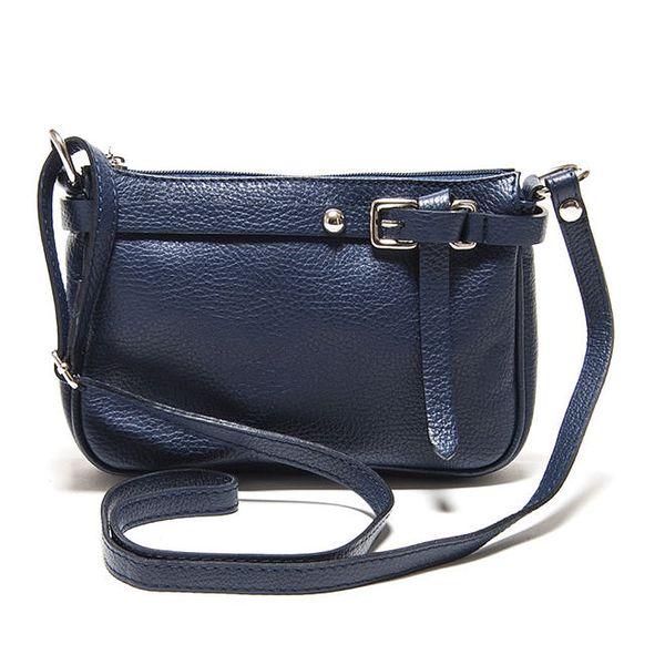 Dámská modrá kožená kabelka přes rameno Isabella Rhea