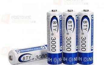 Nabíjecí tužkové AA baterie BTY 3000mAh - 4 kusy a poštovné ZDARMA! - 15610102