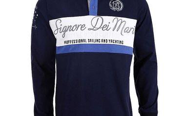 Pánské tmavě modré polo triko s dlouhými rukávy a bílým pruhem Signore dei Mari