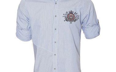 Pánská modře pruhovaná košile s ohrnovacími rukávy Signore dei Mari