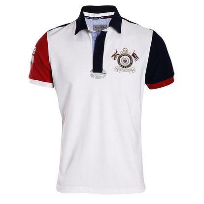 Pánské bílo-červeno-modré polo tričko s výšivkou Signore dei Mari