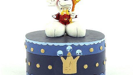 Nádherná šperkovnice s 3D postavičkou myšáka Diddla v podobě krále, barva modrá s korunkou.