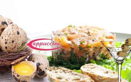 Lososový tataráček s hořčično-medovou omáčkou a brioškou s křepelčím vejcem + aperitiv 0,02l Martini! Gurmánské menu jen za 75 Kč! Zažijte na vlastní chuťové buňky umění kuchařů v Original Cappuccini Restaurant se slevou 50%!