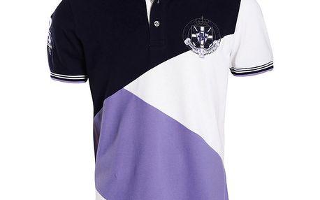 Pánské bílo-fialovo-černé polo tričko Signore dei Mari