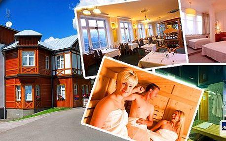 Špindlerův Mlýn - 5denní nabitý balíček pro 2 osoby ve 4*Hotelu Sněžka s polopenzí formou bufetu. Tradiční grilování, finská sauna, vířivka a adrenalinové přemostění přes horskou přehradu nebo jízda na bobové dráze!