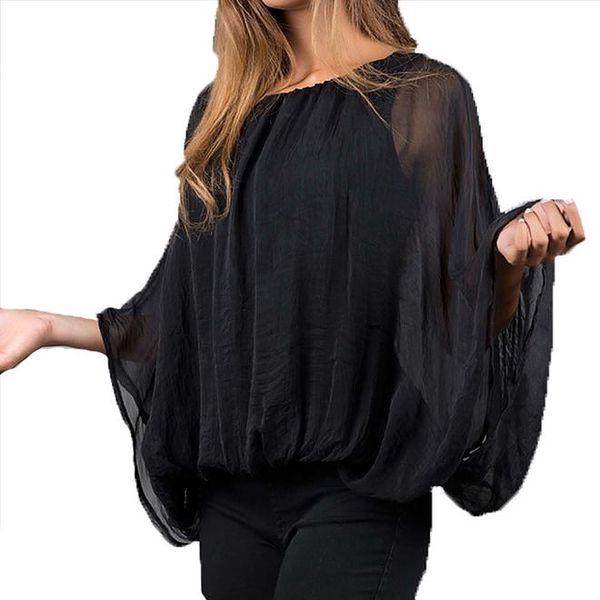 Dámská černá halenka s netopýřími rukávy Keysha