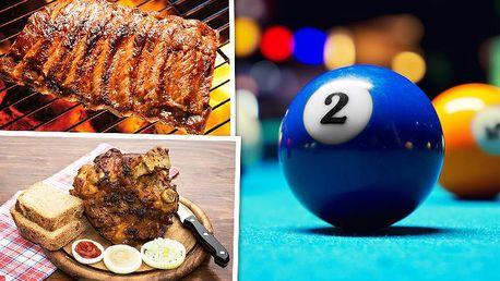 2 hodiny billiardu a pečené koleno nebo žebra v restauraci Yellow Fish