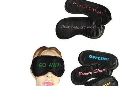 Maska na spaní s vtipným nápisem - nasaďte ji na oči a dejte jasně najevo ostatním ať neruší!