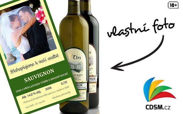 Láhev moravského vína s vlastní fotkou