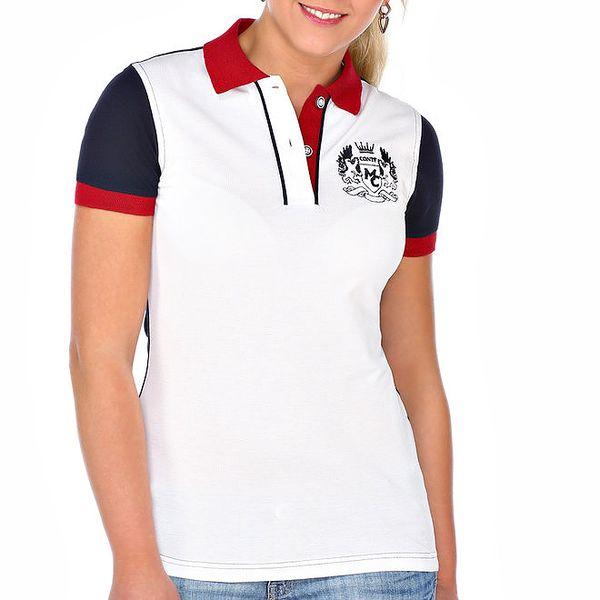 Dámské bílé polo tričko s modrými zády M. Conte