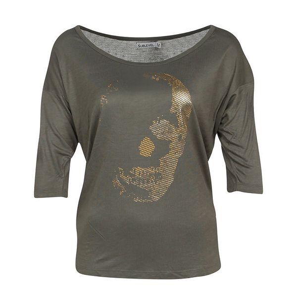 Dámské olivově zelené tričko s potiskem Sublevel