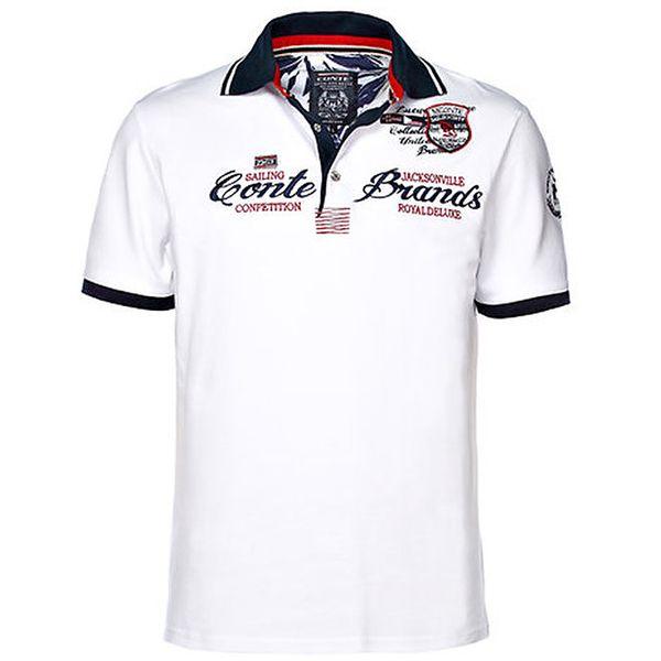 Pánské bílé polo triko s výšivkou M.Conte