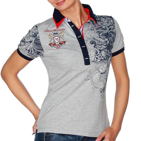 Dámské šedé polo tričko s ornamenty M. Conte