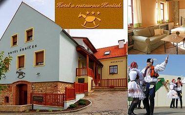 Pobyt pro dva na 3 dny ve stylovém Hotelu Koníček ve vinařském kraji Uherského Hradiště s polopenzí. Pro náročné možnost vířivky neomezeně přímo na pokoji! Baťův kanál, vinařské stezky, Strážnice, Bílé Karpaty - poznejte jedinečnou atmosféru Slovácka!
