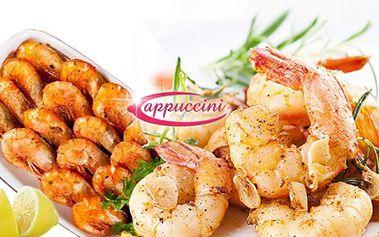 20ks TYGŘÍCH KREVET ve ZCELA NOVÉ GASTRONOMICKÉ ÚPRAVĚ, filipínská, zázvorová a česneková omáčka + focaccia! Luxusní gurmánský večer v Cappuccini Restaurantu za 249 Kč! Možné uplatnit na dvou provozovnách!