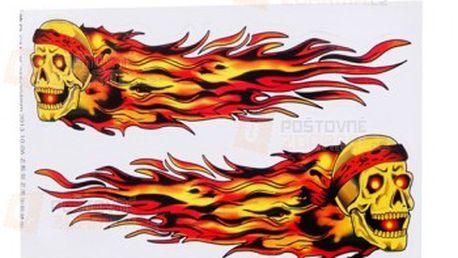 Nálepka na auto s motivem hořící lebky a poštovné ZDARMA! - 14810197