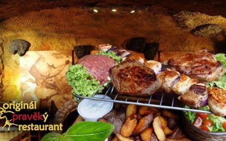 Jedinečná žranice v restauraci Pravěk na Praze 2! Pochutnáte si na TATARÁKU, FLANK STEAKU, steaku z KRKOVICE, kuřecích PRSÍČKÁCH na jehle i vepřové PANENCE! Kilo masa včetně příloh za neuvěřitelných 699 Kč!