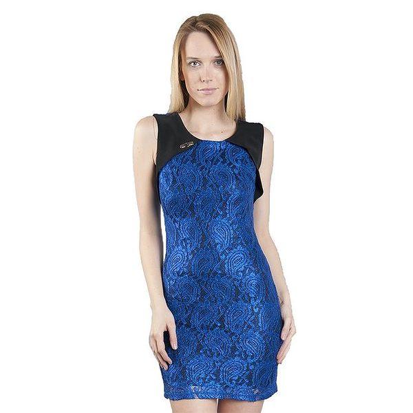 Dámské zářivě modré krajkové šaty Via Bellucci