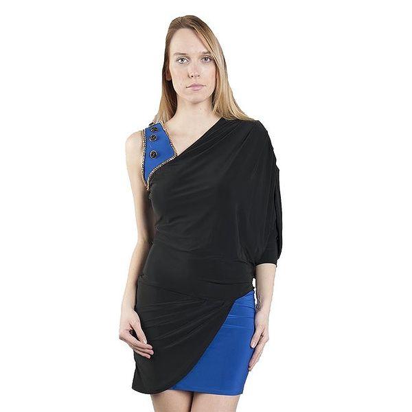 Dámské dvouvrstvé černo-modré šaty Via Bellucci