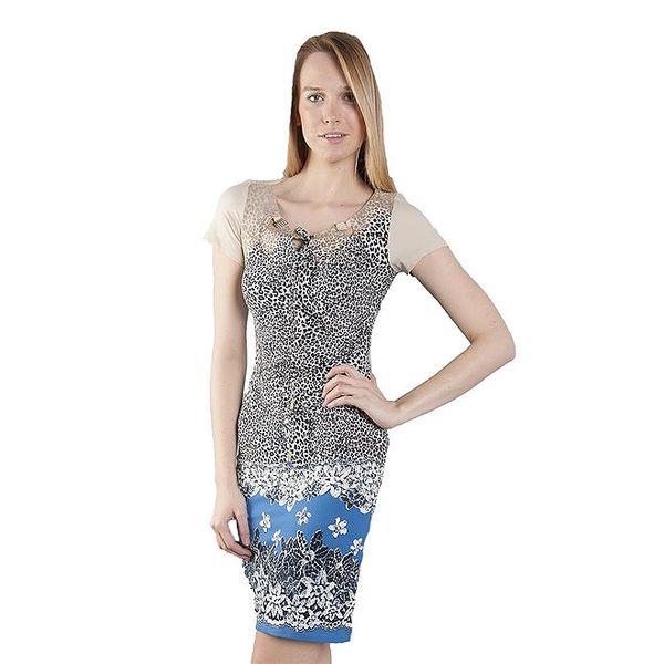 Dámské modro-šedé šaty Via Bellucci s potiskem
