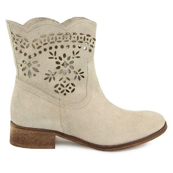 Dámské bílé kotníčkové semišové boty s perforací Giorgio Picino