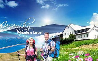 Levná dovolená v Jeseníkách! 3, 4 nebo 6 dnů pro 2 dospělé a 2 děti do 10 let v Penzionu Lauri již od 790 Kč! Klidné místo v krásné přírodě, v letních měsících k dispozici venkovní bazén. Ideální pro turistiku, cykloturistiku a výlety!