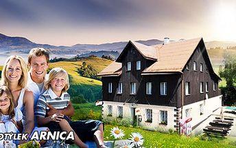 Cenová bomba! Jen 799 Kč za TŘÍDENNÍ pobyt s PLNOU PENZÍ v horském hotýlku Arnica! Užijte si jaro a léto na Klínovci, v krásné přírodě Krušných hor se slevou 50%!