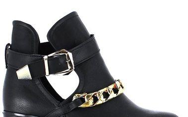 Dámské černé kotníkové boty s řetízkem Shoes and the City