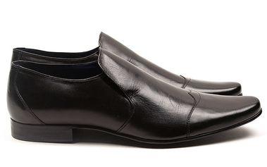 Pánské černé kožené elegantní boty Armand Basi