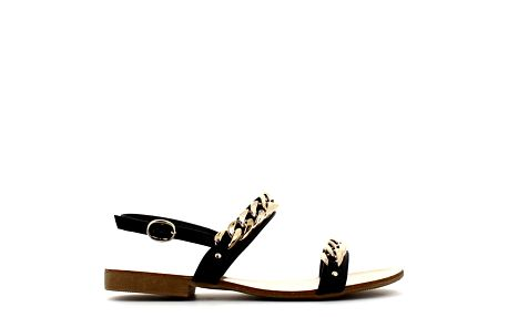 Dámské černé sandálky se zlatým řetězem Shoes and the City