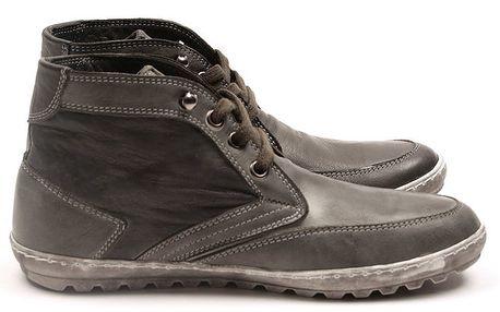 Pánské šedé kotníčkové boty z kůže Armand Basi