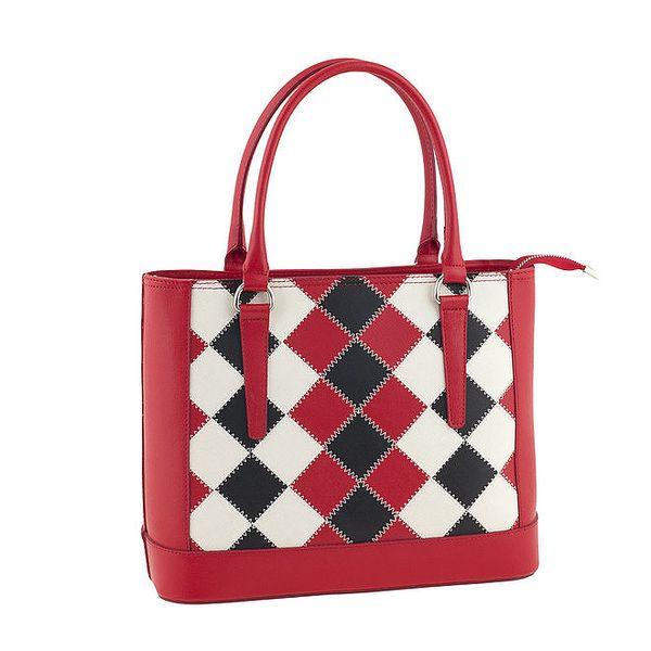 Dámská červená kožená kabelka s kostkovaným vzorem Ore 10