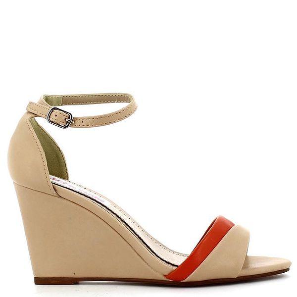 Dámské tělové sandálky s červeným páskem Shoes and the City